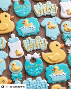 "Rubber duck cookies for a baby shower! I love the ""puff"" I was able to achieve on all of the cookies to give them dimension! Duck Cookies, Baby Cookies, Baby Shower Cookies, Iced Cookies, Birthday Cookies, Sugar Cookies, Ducky Baby Showers, Baby Shower Duck, Rubber Ducky Baby Shower"
