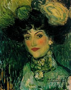 Pablo Picasso Woman With Feathered Hat: 1901 oil on canvas Dimensions: 38.5 x 46.5 cm