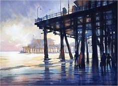 santa monica pier by Thomas W. Schaller Watercolor ~ 22 inches x 30 inches