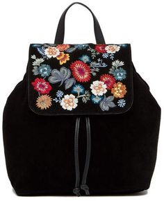 1ee7217d89d1 Lucky Brand Super Bloom Floral Embroidered Suede Backpack