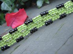 Vivid Lime Green Macramé Bracelet with Black Beads
