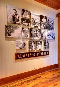 Idea of how to arrange photos on wall