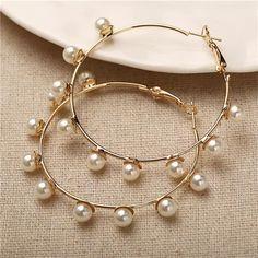 Vintage Classic Drop Earrings – klozetstyle.com Circle Earrings, Gold Hoop Earrings, Beaded Earrings, Statement Earrings, Women's Earrings, Fashion Earrings, Fashion Jewelry, Oversized Hoop Earrings, Gold Fashion