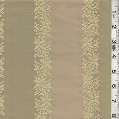 Antique Gold & Sage  Stripe Silk Taffeta Fabric  with Embroidered Floral Stripe