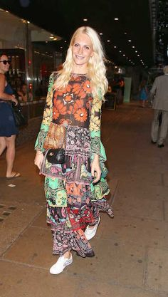 Poppy Delevingne in a printed Valentino gown and white sneakers