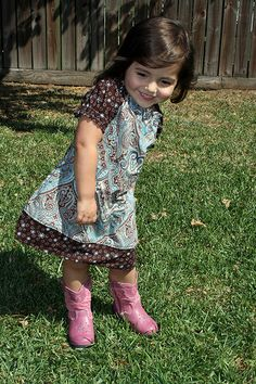 how to make a peasant dress for our little ones.. great pics and ... pink cowboy boots go with everything ladies  ; )