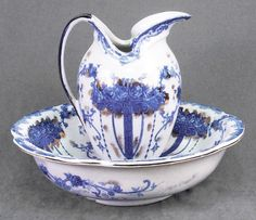 Pitcher and Bowl Set Cobalt Blue Roses on White