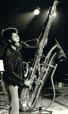 Anthony Braxton playing a bass saxophone