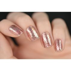 Juliette Rose Gold Holographic Nail Polish (39 ILS) ❤ liked on Polyvore featuring beauty products, nail care, nail polish, nails, bath & beauty, grey and makeup & cosmetics