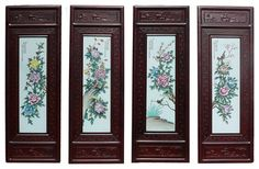 Chinese Rosewood Porcelain Flower Wall Panel Set asian-artwork