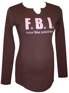 "Tee-shirt maternité manches longues ""FBI"" choco/rose"