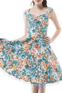 Vintage Swing Midi Dress-Women 1950s Vintage Knee Length Party Cocktail  Dress 83b04f08202f
