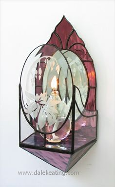 Candle Sconces A Step By Step Guide. It makes good use of etched bevels. The main color is spectrum silver back glass. Stained Glass Mirror, Making Stained Glass, Stained Glass Ornaments, Stained Glass Christmas, Stained Glass Designs, Stained Glass Projects, Stained Glass Patterns, Leaded Glass, Stained Glass Windows