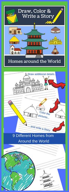 Homes Around the World - Draw, Color and Write has been designed to be a cross-curricular resources (Language Arts and Social Studies) for 2nd-3rd graders and can be used while studying different cultures or during geography studies.  There are 9 different types of homes: Adobe, Chalet, Hut, Tipi, Palace, Japanese Minka, Spanish Colonial, Yaranga, and Yurt.