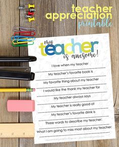 Students will have fun filling out this Teacher Appreciation Printable at the end of their school year!  A fun and easy diy gift idea for teachers. And teachers will have even more fun reading them!