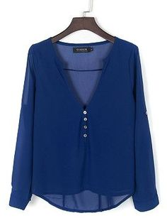 Shop Royal Blue V-neck Button Detail Dip Back Blouse from choies.com .Free shipping Worldwide.$8.9