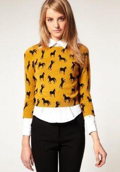 Yellow Long Sleeve Horse Print Slim Jumper