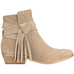 GUESS Camrin Suede Booties ($97) ❤ liked on Polyvore featuring shoes, boots, ankle booties, stacked heel booties, suede boots, guess ankle booties, guess? boots and suede fringe boots