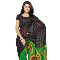 Dark Magenta and Green Faux Georgette Saree with Blouse