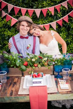 strawberry themed wedding anyone? we adore this wedding and table http://www.weddingchicks.com/2013/10/08/american-wedding-ideas-2/