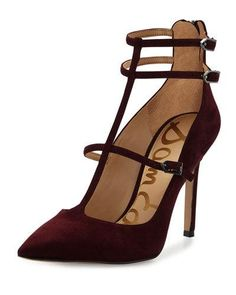 X3AVA Sam Edelman Hayes Suede Caged Pointed-Toe Pump, Port Wine