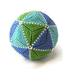 Icosahedron Paperweight Beaded Ball seed by SallyGoRoundTheMoon, $30.00