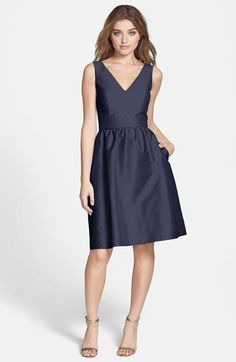 Alfred Sung Satin Fit & Flare Dress Dress | Nordstrom