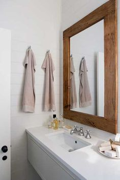 Bathrooms - Provincial Kitchens Sydney like this mirror Hall Bathroom, Modern Bathroom, Bathroom Ideas, Recessed Shelves, Boy Bath, Bathroom Design Inspiration, Rustic Mirrors, Wall Mounted Coat Rack, Florida Home