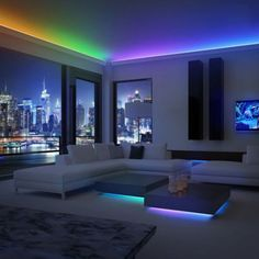 Brighten up your entire home with these awesome color changing LED light strips! These LED light strips are perfect to add some color and light to your home! Make any room look stylish instantly. Led Rope Lights, String Lights Outdoor, Bed With Lights, Tv Lights, Led Garden Lights, Puck Lights, Ceiling Lights, Bedroom Lighting, Luxury Houses