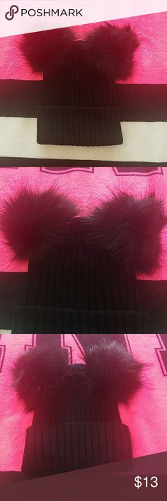 Double Pom Pom Beanie Super Cute Beanie, 100% Accrylic, Warm and Cozy, I added a Bow on mine to Look Like a Minnie Mouse Beanie ( Bow not Included) Looks Great on it's own as well, Brand New, Must Have For The Cooler Weather Accessories Hats