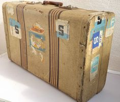 Great Looking c 1950s Vintage Suitcase with Original Luggage Labels-Theatre Prop
