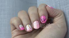 Pink Christmas nail design. Diseño de uñas Navidad rosa. By Vilcis