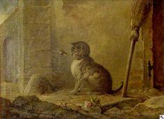 """Julius Adam II (German, 1852-1913) - """"Katze mit einem Maikäfer"""" (Cat with a cockchafer)"""