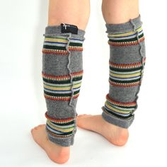 Leg Warmers for Kids in Grey with Green Orange Yellow by mirabeans