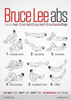 bruce lee workout Visual Workout Guides for Full Bodyweight, No Equipment Training .I need Bruce Lee Abs. Neila Rey Workout, Sixpack Workout, Workout Guide, Workout Abs, Workout Ideas, Stairs Workout, Boxing Workout, Life Fitness, Body Fitness