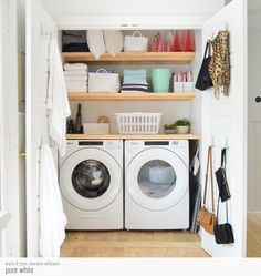 Laundry Nook, Laundry Shelves, Pantry Shelving, Small Laundry Rooms, Laundry Closet, Closet Shelves, Laundry Room Organization, Laundry Room Design, Storage Shelves