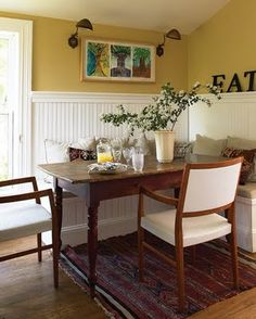 Dining room...definitely building a bench seat for one side, there's a great tutorial at blue roof cabin blog.