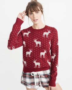 A&F Women's Moose Pattern Crew Sweater