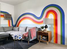 Room tour of a colouful media room in Vancouver. Its decor includes a very bold funky painted wall mural. Bedroom Wall Designs, Bedroom Murals, Bedroom Decor, Wall Decor, Diy Wall, My New Room, Diy Home Decor, Decoration, Painted Wall Murals