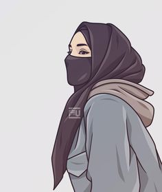 Portrait Vector, Portrait Cartoon, Cute Cartoon Girl, Cartoon Art, Islamic Girl Pic, Sarra Art, Hijab Drawing, Girly M, Islamic Cartoon