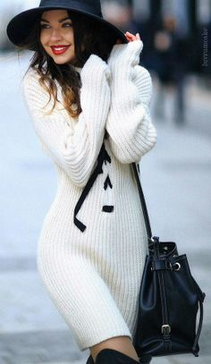 Sweater dress, Love the ribbon detail down the front! https://bellanblue.com