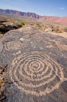 Petroglyphs carved onto rock surface by prehistoric Native American s at Anasazi Canyon Utah USA Stock Photo The Ancient One, Ancient Ruins, Ancient Art, Ancient History, Native Art, Native American Art, American History, Land Art, Ancient Mysteries