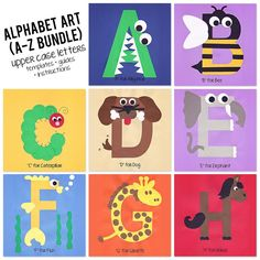 A to Z Alphabet Art Template, Upper Case Letters Bundle