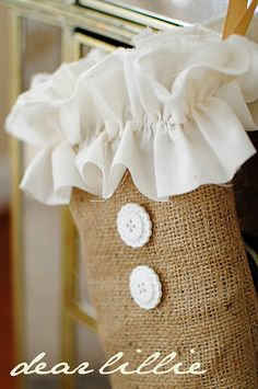 DIY Ruffled Stocking! This would make a great plastic bag keeper to hang in your pantry or on your pantry door.