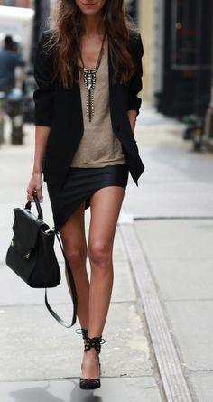 asymmetrical leather skirt
