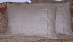 Burlap pillow shams with button accent  http://www.etsy.com/listing/87326715/king-burlap-pillow-shams-with-buttons