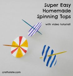 These homemade spinning tops are SO easy to make! A great craft for a wide range of ages.