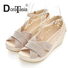 Cheap summer shoes, Buy Quality women sandals directly from China sandals ladies Suppliers: Cutout Lace Sweet Women Sandals Ladies Ruffles Ankle Buckle Strap Wedge Summer Shoes Black Beige
