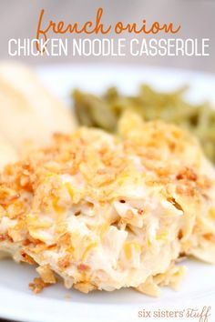 This was a little weird. It tasted almost exactly like macaroni and cheese- which is fine, but I wouldn't have spent the extra money and time for a dish that tastes like something cheap and easy...  French Onion Chicken Noodle Casserole from SixSistersStuff.com