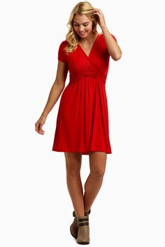 3ae14ef550a Red Draped Front Maternity Nursing Dress